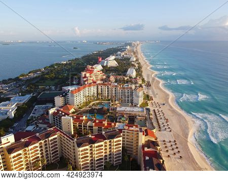 Cancun beach and The Royal Islander Resort, Hotel Emporio Cancun aerial view in the morning, Cancun, Quintana Roo QR, Mexico.