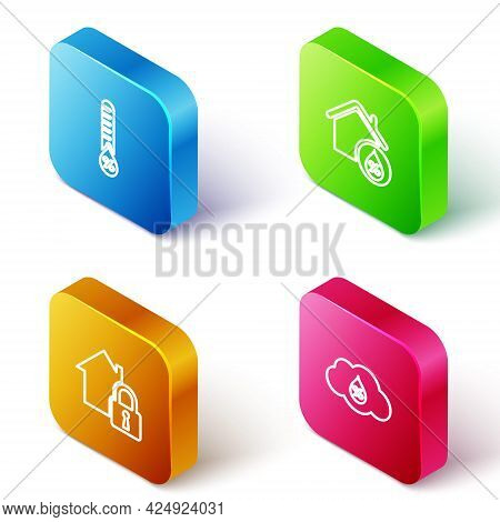Set Isometric Line Humidity, House Humidity, Under Protection And Icon. Vector