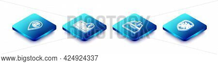 Set Isometric Line Location Service, Interesting Facts, Download Inbox And Stop Virus, Bacteria Icon