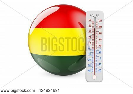 Thermometer With Bolivian Flag. Heat In Bolivia Concept. 3d Rendering Isolated On White Background