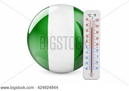 Thermometer With Nigerian Flag. Heat In Nigeria Concept. 3d Rendering Isolated On White Background