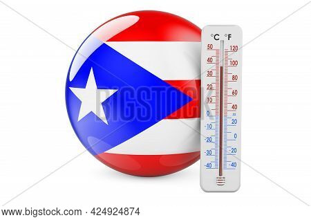 Thermometer With Puerto Rican Flag. Heat In Puerto Rico Concept. 3d Rendering Isolated On White Back