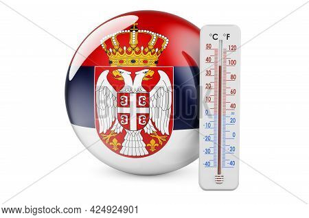 Thermometer With Serbian Flag. Heat In Serbia Concept. 3d Rendering Isolated On White Background