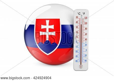 Thermometer With Slovak Flag. Heat In Slovakia Concept. 3d Rendering Isolated On White Background
