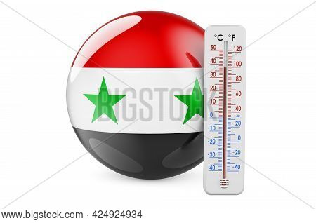 Thermometer With Syrian Flag. Heat In Syria Concept. 3d Rendering Isolated On White Background