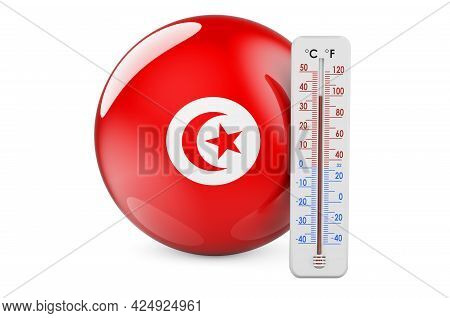 Thermometer With Tunisian Flag. Heat In Tunisia Concept. 3d Rendering Isolated On White Background