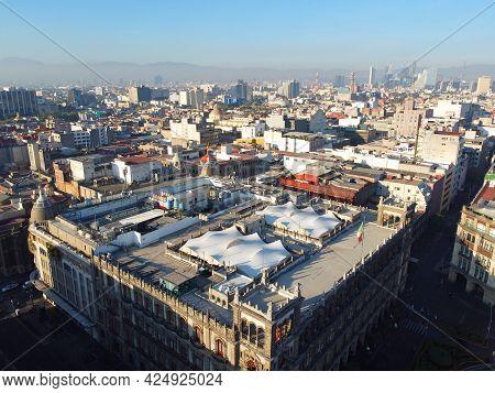 Historic Center Of Mexico City Aerial View Near Zocalo Constitution Square, Mexico City Cdmx, Mexico