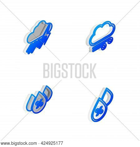 Set Isometric Line Windy Weather, Cloud With Rain And Lightning, Water Drop Percentage And Icon. Vec