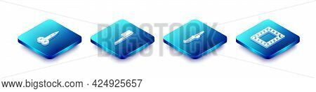Set Isometric Line Scissors, Hairbrush, Curling Iron And Makeup Mirror With Lights Icon. Vector