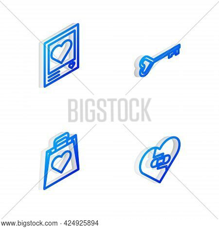 Set Isometric Line Key In Heart Shape, Photo Frames And Hearts, Shopping Bag With And Healed Broken