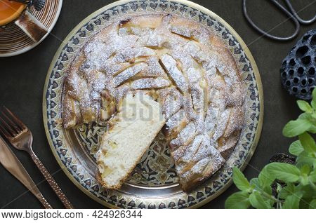 Pie With Apples And Almond Petals