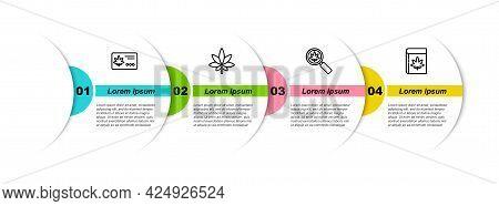 Set Line Calendar And Marijuana Leaf, Marijuana Or Cannabis, Magnifying Glass And Book. Business Inf