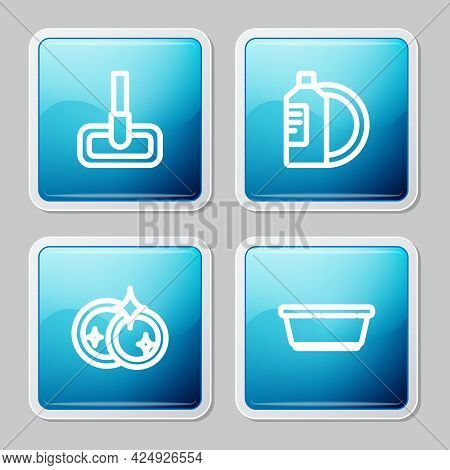 Set Line Mop, Dishwashing Liquid Bottle And Plate, Washing Dishes And Plastic Basin Icon. Vector