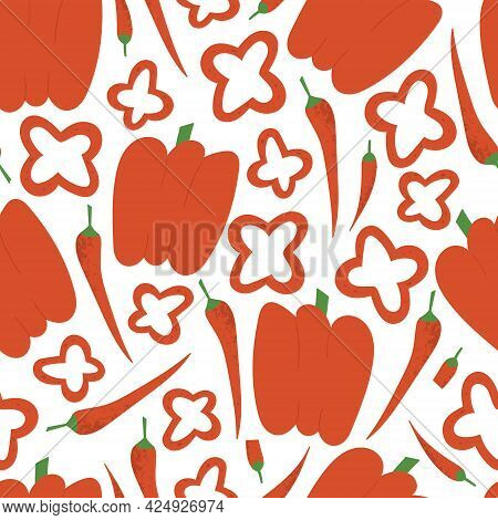 Paprika Pattern. Flat Hand Drawn Bell Pepper And Chili Seamless Print For Market, Cafe Or Kitchen.