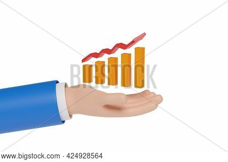 Cartoon Hand Holding A Bar Chart Isolated In White Background. 3d Illustration.