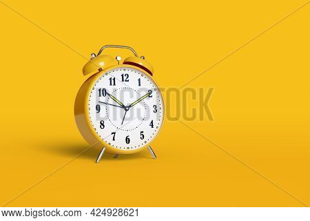 Alarm Clock Isolated On Yellow Background With Copy Space. 3d Illustration.