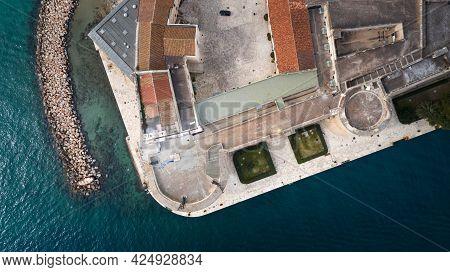 Aerial View Of Medieval Aragonese Castle Of Taranto City, Puglia. Italy