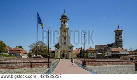 Alba Iulia, Alba, Romania -  May 11, 2021: The Coronation Orthodox Cathedral And Roman Catholic Cath
