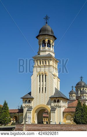 Alba Iulia, Alba, Romania -  May 11, 2021: The Coronation Orthodox Cathedral  In Fortress Of Alba Iu