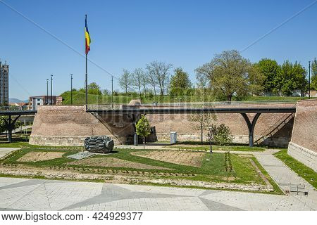 Alba Iulia, Alba, Romania -  May 11, 2021: The Bridge And The Third Gate Of The White Carolina Citad