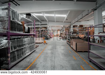 modern industrial factory for mechanical engineering equipment and machines manufacture of a production hall