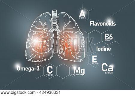 Essential Nutrients For Lungs Health Including Omega-3, Flavonoids, Magnesium, Iodine. Design Set Of