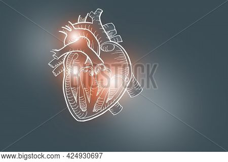 Handrawn Illustration Of Human Heart On Dark Grey Background.medical, Science Set With Main Human Or