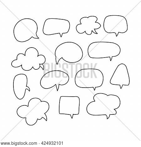 Speech Bubble Thin Line Icon Set. Communication Chat Linear Customer Dialog Signs, Clean Label. Outl