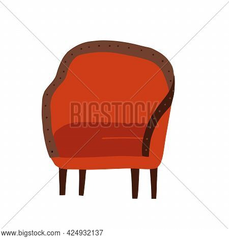 Retro Armchair With Wooden Legs And Soft Red Covering. Isolated Vintage Furniture For Home, Old Fash