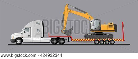 Image Of A Modern American Low Loader With Cargo. Goose Excavator. Transportation Of Construction Eq