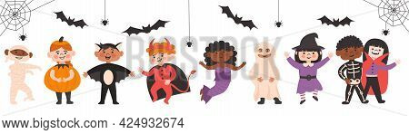 Set Of Halloween Kids Costume Party. Cute Different Nationalites Girls And Boys In Vampire, Bat, Dev