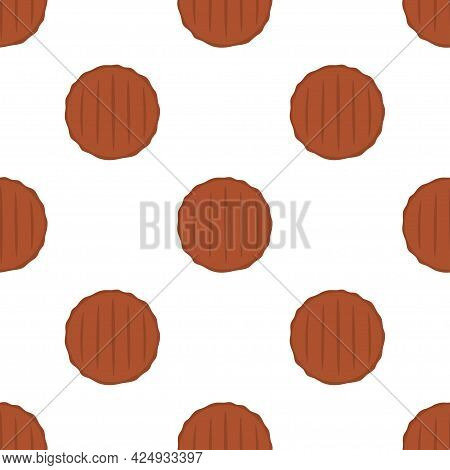Seamless Pattern With Burger Cutlets, Vector Illustration, Healthy Food