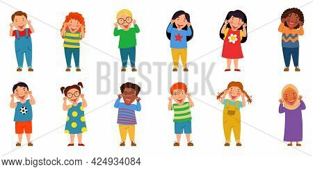 A Set Of Children Of Different Nationalities. The Boys And Girls Grimaced And Stuck Out Their Tongue