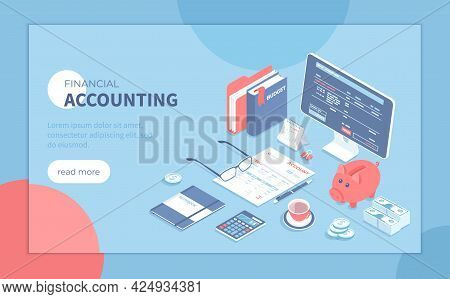 Accounting, Bookkeeping, Calculation. Bill, Tax, Receipt Payment. Account Form, Documents, Calculato