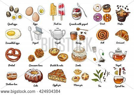 Vector Food Icons. Colored Sketch Of Food Products. Baking, Sweets, Eggs, Tea