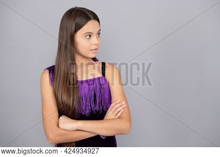 Adorable Girl Wear Long Silky Brunette Hair Style Grey Background Copy Space, Haircare