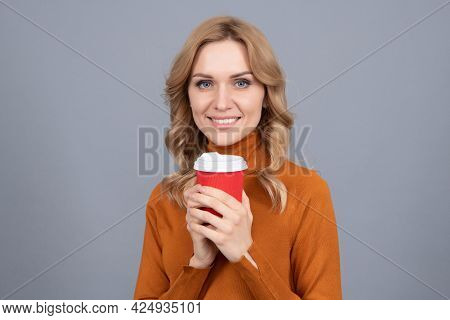 Caffeine Gets Me Excited. Happy Woman Hold Cup Grey Background. Enjoying Caffeine Drink