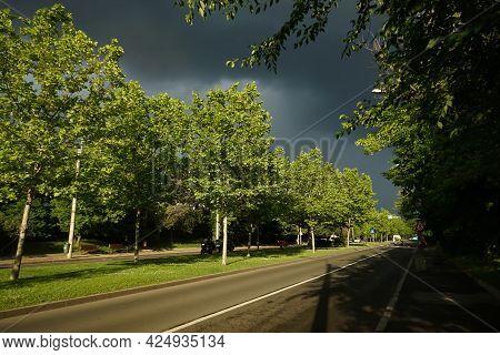 Bucharest, Romania - June 16, 2021: Black Storm Clouds Above Poligrafiei Boulevard In Bucharest.