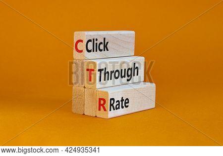 Ctr Click Through Rate Symbol. Wooden Blocks With Words 'ctr Click Through Rate'. Beautiful Orange B