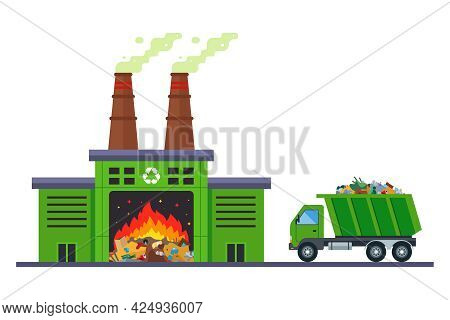 Garbage Truck Goes To Incinerate Waste At An Incineration Plant. Flat Vector Illustration.