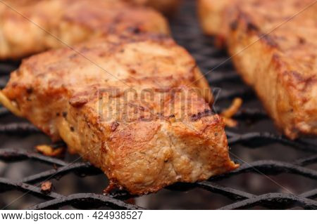 Pork Steak Grilled On The Grill. Grilled Meat
