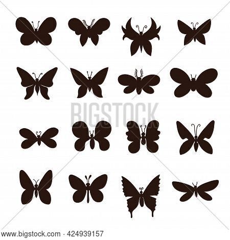 Big Set Of Silhouette Of Black And White Minimalistic Butterflies.