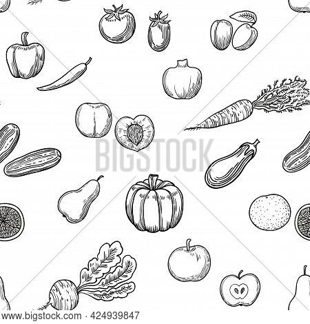 Seamless Pattern With Hand Drawn Fruits And Vegetables