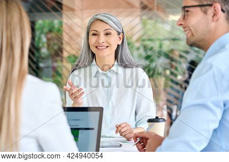 Older Mature Asian Business Woman Training Young Interns Trainees Explaining Sharing Professional Sk