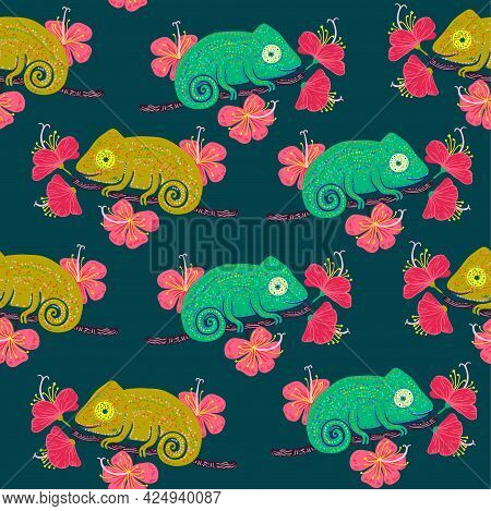 Chameleon On A Branch With Hibiscus Flowers Seamless Pattern