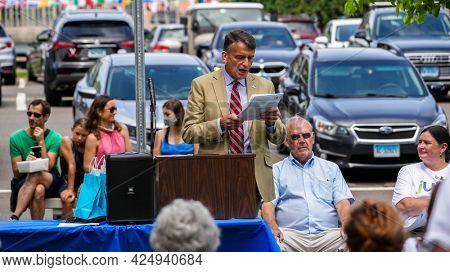 WESTPORT, CT, USA - JUNE 26, 2021:  Celebrating jUNe Day in Westport near Town Library at Jesup Green