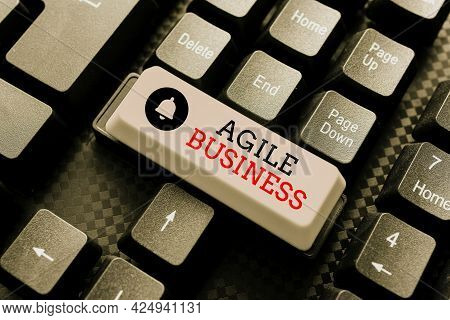 Text Caption Presenting Agile Business. Business Idea Capability Of Adjusting Quickly To The Market