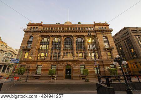 Mexico City - Jan. 15, 2020: Bank Of Mexico (spanish: Banco De Mexico) Headquarter At No. 2 On 5 De