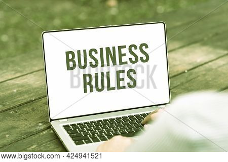 Inspiration Showing Sign Business Rules. Word Written On The Principles Which Determine The Corporat