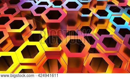 Bright Hexagons From 3d Render Of Geometric Textures. Futuristic Techno Surface With Shiny Gradient.
